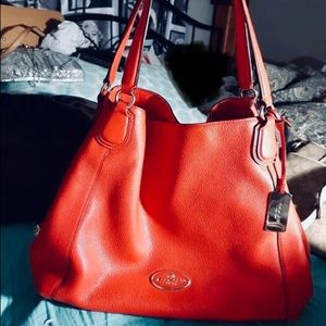 Coach Edie shoulder leather bag